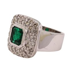 1.69 ctw Emerald and Diamond Ring - 14KT White Gold