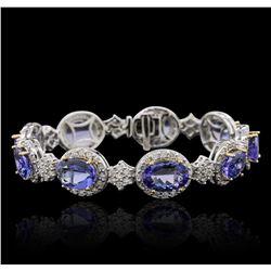 14KT Two-Tone Gold 25.74 ctw Tanzanite and Diamond Bracelet