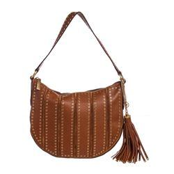 Michael Kors Brown Leather Brooklyn Grommet Crossbody Bag
