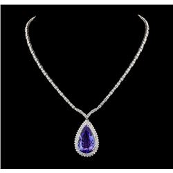 GIA Cert 35.68 ctw Tanzanite and Diamond Necklace - 14-18KT White Gold