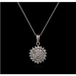0.55 ctw Diamond Pendant With Chain - 14KT White Gold