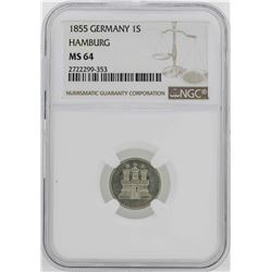 1855 Germany Hamburg Schilling Coin NGC MS64