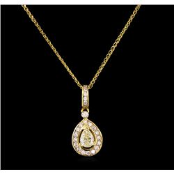 1.37 ctw Diamond Pendant With Chain - 14KT Yellow Gold