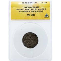 1005 Dirham Islamic Ghaznavid Coin ANACS VF30