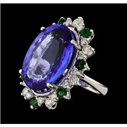 20.78 ctw Tanzanite and Diamond Ring - 14KT White Gold