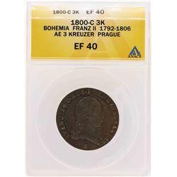 1800-C Bohemia Franz II Ae 3 Kreuzer Prague Coin ANACS XF40