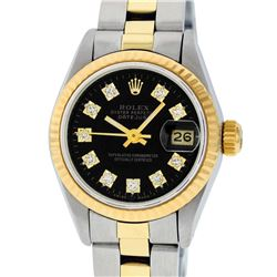 Rolex Ladies 2 Tone 14K Black Diamond 26MM Datejust Wristwatch