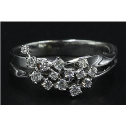 0.30 ctw Diamond Cluster Ring - 14KT White Gold