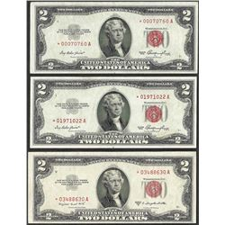 Lot of (3) 1953 $2 Legal Tender STAR Notes