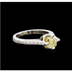 1.82 ctw Fancy Yellow Diamond Ring - 14KT White Gold