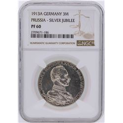 1913A Germany 3 Mark Prussia Silver Jubilee Coin NGC PF60