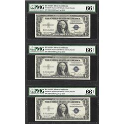 Lot of (3) Consecutive 1935D $1 Silver Certificate Notes PMG Gem Uncirculated 66