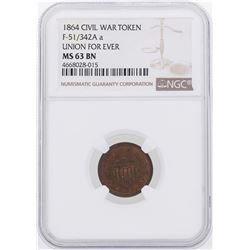 1864 Union For Ever Civil War Token NGC MS63BN