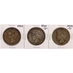 Lot of 1934, 1934-D, & 1934-S $1 Peace Silver Dollar Coins