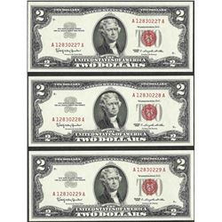 Lot of (3) Consecutive 1963 $2 Legal Tender Notes