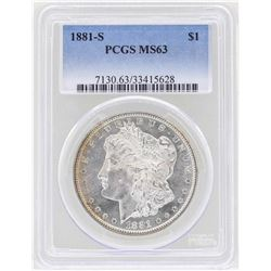 1881-S $1 Morgan Silver Dollar Coin PCGS MS63