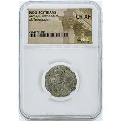 58 BC Indo Scythians Azes I/II AR Tetradrachm Coin NGC Ch XF