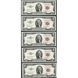Lot of (5) Consecutive 1953A $2 Legal Tender Notes