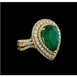 14KT Yellow Gold 4.10 ctw Emerald and Diamond Ring