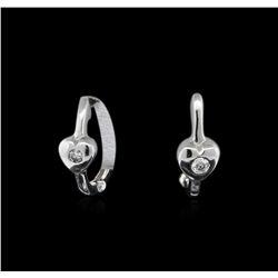 0.03 ctw Diamond Hoop Earrings - 14KT White Gold