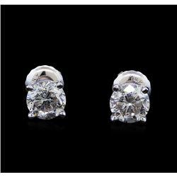 1.01 ctw Diamond Stud Earrings - 14KT White Gold
