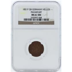 1821F GB Germany Heller Frankfurt Coin NGC MS61BN