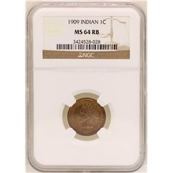 1909 Indian Head Cent Coin NGC MS64RB