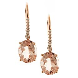 4.5 ctw Morganite and Diamond Earrings - 14KT Rose Gold