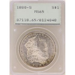 1880-S $1 Morgan Silver Dollar Coin PCGS MS65 Old Green Rattler