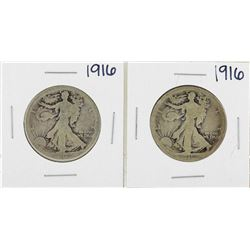 Lot of (2) 1916 Walking Liberty Half Dollar Silver Coins