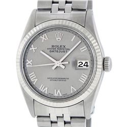 Rolex Mens Stainless Steel 36MM Slate Grey Roman Datejust Wristwatch