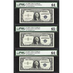 Lot of (3) Silver Certificates 1935E Choice Unc 64, 1957A 64EPQ, 1957A Gem Unc 6