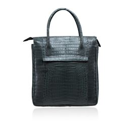 Nancy Gonzales Large Grey Crocodile Tote