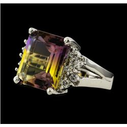 6.25 ctw Ametrine and Diamond Ring - 14KT White Gold