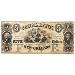 1800's $5 Canal Bank, New Orleans, LA Obsolete Bank Note