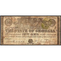 1863 Fifty Cents The State of Georgia Milledgeville Obsolete Note