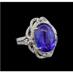 14KT White Gold 14.42 ctw Tanzanite and Diamond Ring