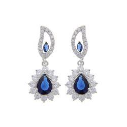 Ladies .925 Silver Sapphire Blue Swarovski Element Earrings.