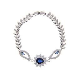 Ladies .925 Silver Sapphire Blue Swarovski Element Bracelet. 6.5 Inches.