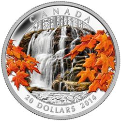 Autumn Falls $20 Fine Silver Coin - Royal Canadian Mint, Limited Edition.