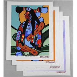 Norval Morrisseau (1931-2007) Serigraphs - 'A Shaman's Vision' 4 Image Collection - RARE Set. Origin