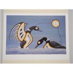 Barry Peters - Litho 'MATING DISPLAY, LOONS'' Limited Edition of 80 Worldwide in Folio - 18x24 Inche
