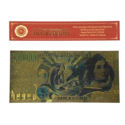 500,000 Lire 24kt Gold Leaf Note - Certified. Banca D'Italia.