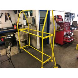 YELLOW ROLLING TIRE DISPLAY RACK