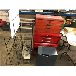 ROLLING RED TOOL BOX, SMALL CABINET, PATIO TABLE AND 2 SMALL RACKS