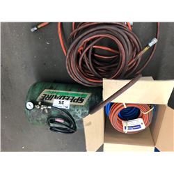 LARGE LOT OF AIR HOSE AND SMALL AIR STORAGE TANK