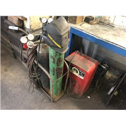 WELDING TORCH SET WITH CART AND OLDER LINCOLN WELDER; BOTTLES NOT INCLUDED