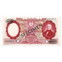 Banco Central De La Republica Argentina, ND (1961-69) Specimen Banknote.