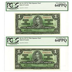 "Bank of Canada, 1937 Issue High Grade ""Wide Signature Panel"" Sequential Banknote Pair."