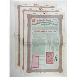 Kaiserlich Chinesische Tientsin-Pukow-Staatseisenbahn-Anleihe 1908 Issued Trio of Bonds.